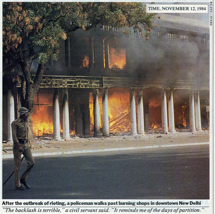 The rioting after Indira Gandhi's death (Time Magazine, November 1984).