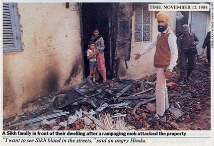 Sikh households destroyed in the aftermath of Indira Gandhi's assassination. Time Magazine, November 1984).