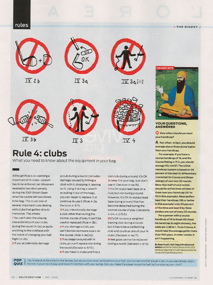 Page 66 of the May 2008 Golf Digest magazine.