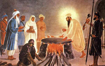 Guru Arjan Dev Ji peacefully sitting on a burning open oven under the orders of Mughal Emporer Jahangir.