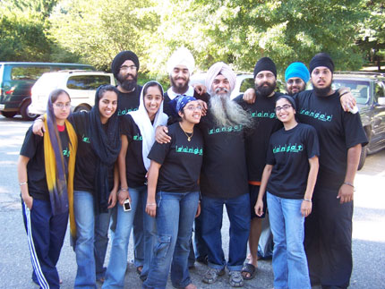 Hargurpreet Singh with Counselors who guided the Sikh kids at the camp