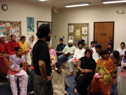 Dalpreet Singh, a young attorney sharing his life experiences with campers.