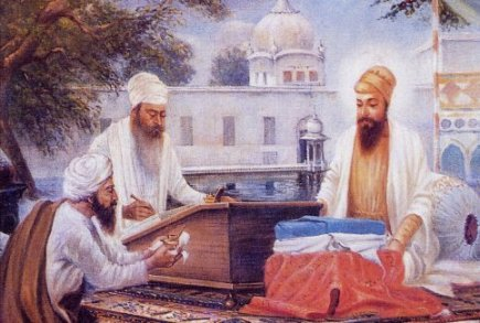 Guru Arjan Dev Ji (right) compiling the Adi Granth with assistance from his devotees.