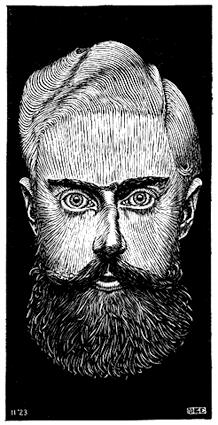 M.C. Escher woodcut based Self Portrait from 1922.